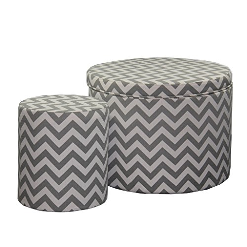 Ore International HB4593 Chevron Storage Ottoman with One Extra Seating, 17.35