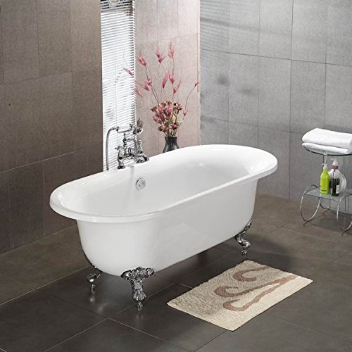 Acrylic Double Ended Clawfoot Bathtub 70″ X 30″ with No Faucet Drillings and Brushed ...