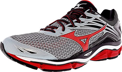 Mizuno Men's Wave Enigma 6 Running Shoe, Charcoal Gray/High Risk Red, 12.5 D US