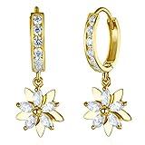 Wellingsale Ladies 14k Two Tone Gold Polished Fancy Huggies Dangle Hanging Drop Flower Earrings (10 X 30mm)