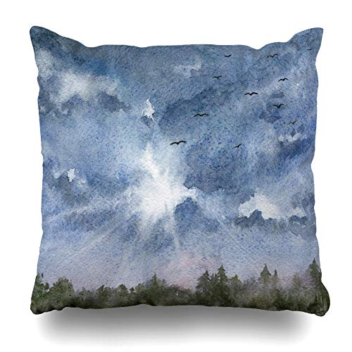 Ahawoso Throw Pillow Cover Pillowcase Tree Watercolor Autumn Blue Cloudy Sky Forest Foursquare Nature Area Bird Bright Cloud Day Daylight Home Decor Design Square Size 20