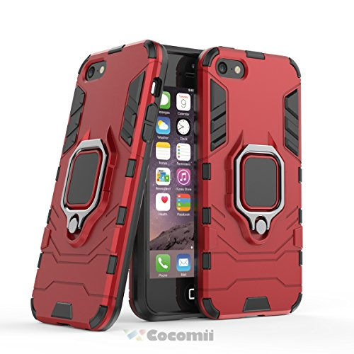 Cocomii Black Panther Armor iPhone SE/5S/5 Case New [Heavy Duty] Tactical Metal Ring Grip Kickstand Shockproof Bumper [Works with Magnetic Car Mount] Full Body Cover for Apple iPhone SE/5S/5 (B.Red)