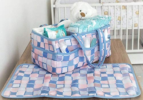 Baby Diaper Caddy Organizer | Free Changing Mat | Baby Shower Gift | Nursery Storage Bin | Baby Boy & Girl | Pink & Blue | Must Have Newborn Registry | Portable Car and Travel Caddy