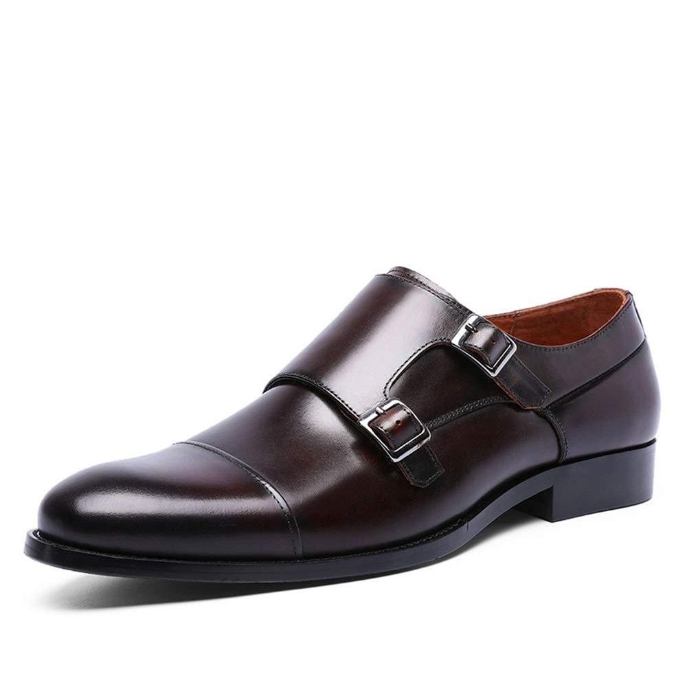 Qiusa Formelle Business-Kleid Schuhe für Männer aus aus Männer echtem Leder Schnalle Mönch Schuhe (Farbe   Braun, Größe   EU 42) ba275b