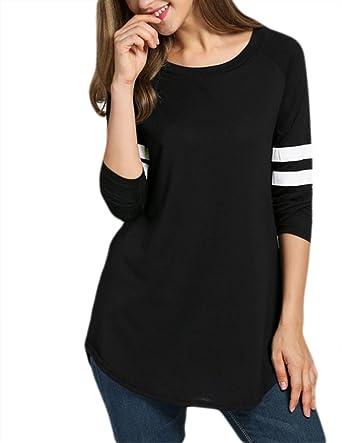 7646d35e Amazon.com: Locryz Women's Casual Tops Contrast Color Baseball Long Sleeve T -Shirt Long Tee (M, Black): Clothing