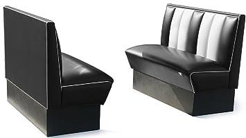 BelAir Dinerbank Eckbank Sitzbank Bank Einrichtung Gastronomie Dinermöbel  Lounge (Black/White)