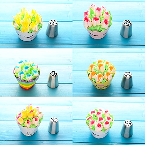 Russian Piping Tips Set - 53 pcs Cake Decorating Tips For cake, Muffins and Ice Cream Decoration Including 15 Unique Design Icing Piping Tips, 4 Couplers, 32 Bags with Gift Box for Mother's Day by Face Forever (Image #5)