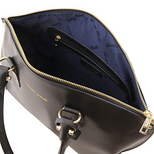 Tuscany Leather Diana Borsa shopper in pelle Ruga - TL141643 (Avorio) Nero