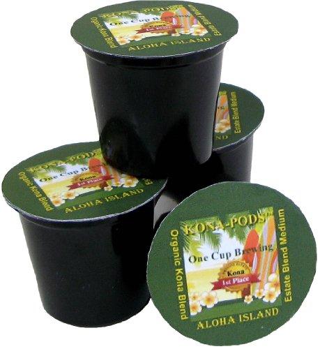 Kona Hawaiian K-cups, Estate Blend Medium Roast, 12-count, From Aloha Island Coffee