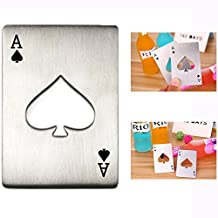 Cisixin Playing Card Ace of Spades Poker Bar Tool Soda Stainless Steel Beer Bottle Cap Opener