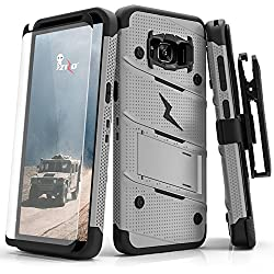 Samsung Galaxy S8 Plus Case, Zizo [Bolt Series] w/ [Galaxy S8 Plus Screen Protector] Kickstand [Military Grade Drop Tested] Holster Belt Clip - S8+