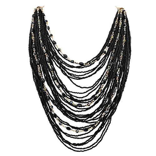 (Bocar Multi-Layer Long Chain Chunky Bib Seed Beads Statement Necklace)