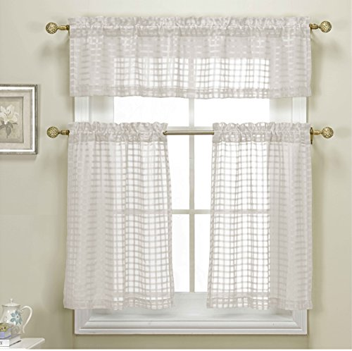 3 Piece White Sheer Kitchen Curtain Set: Woven Check Design,