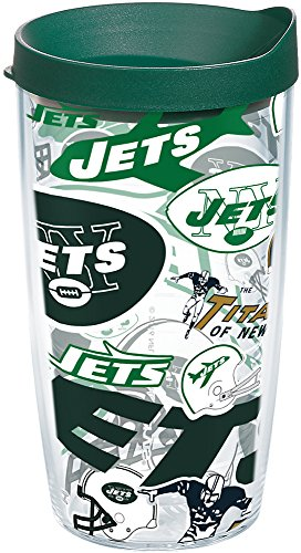Tervis 1248325 NFL New York Jets All Over Tumbler with Wrap and Hunter Green Lid 16oz, Clear