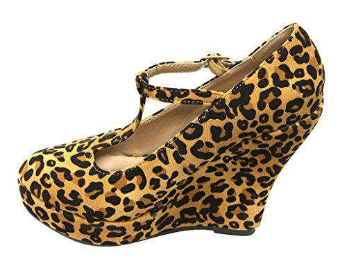 Forever Erika-85 Mujer's Round Toe T-strap Mary Jane Wedge Heel Platform Suede Zapatos Camel