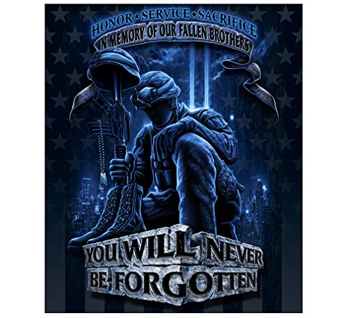 Erazor Bits Throw Blanket 50 x 60| Never Forget Fallen Soldier Throw Blanket MM110-TB ()