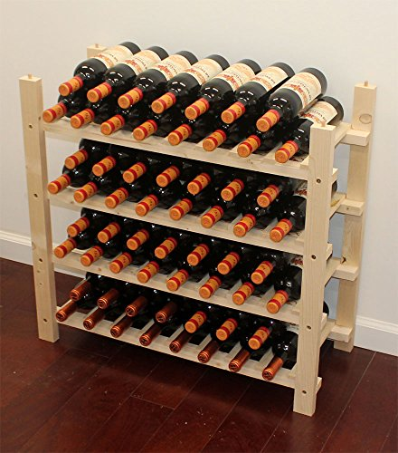 Stackable Wine Storage Rack, Wooden Stand, (60 Bottle Capacity: 4 rows) WN60 - Stackable Wooden Wine Racks