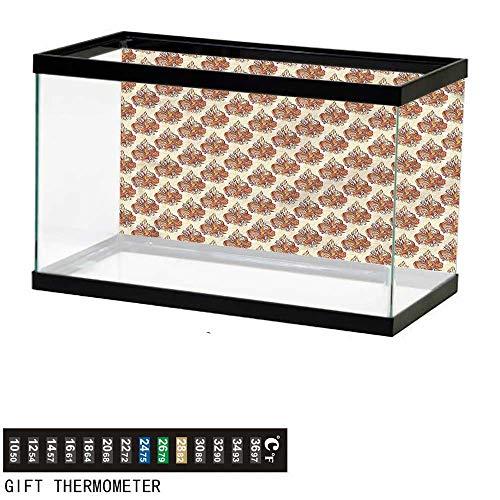 (homecoco Fish Tank Backdrop Batik,Retro Floral Ornaments,Aquarium Background,36