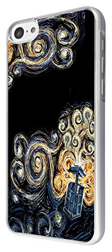 452 - doctor who tardis van gogh canvas Design iphone 5C Coque Fashion Trend Case Coque Protection Cover plastique et métal