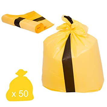 Excellent Quality Yellow Clinical Waste Tiger Stripe Bag 1 Box Of 500 Bags