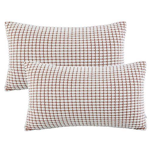 Ashler Set of 2 Soft Off-White Corduroy Corn Stripped Both Sides Throw Pillow Cushion Cover 12 x 20 inch 30 x 50 cm ()