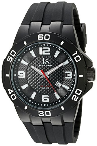 Joshua & Sons Men's JX115BK Black Quartz Watch With Black Dial and Black Silicone Strap