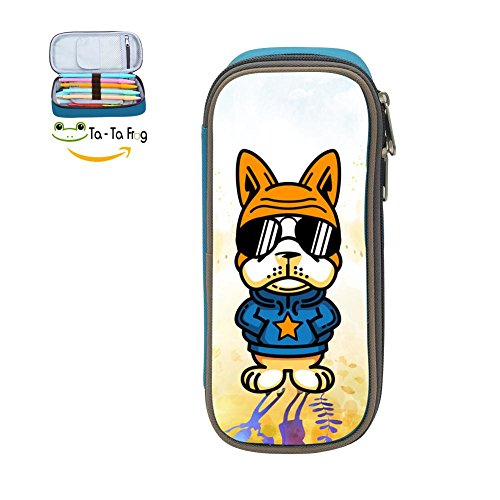 - Dog Style Pencil Case Pen Bag Durable Students Boys&Girls Stationery Double Zipper Blue