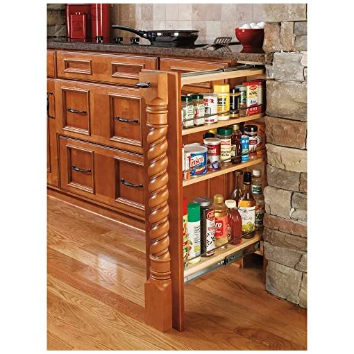 Kitchen Rev-A-Shelf 432-BF-9C 9-Inch Base Cabinet Filler Pullout Kitchen Wooden Spice Rack Holder Shelves for Storage… pull-out organizers