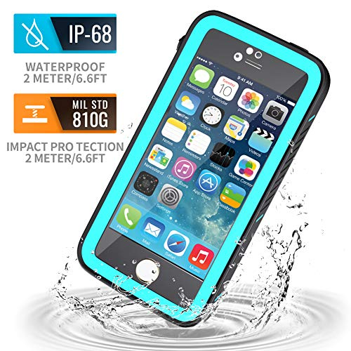 meritcase iPhone 5S Waterproof Case, IP68 iPhone SE/5S/5 Waterproof Shockproof Dirtproof Snowproof Screen Protector Cover for Snow Skiing Swimming (Blue) (Best Waterproof Phone Case For Iphone 5s)
