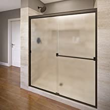 Basco Classic Sliding Shower Door, Fits 56-60 inch opening, Obscure Glass, Oil Rubbed Bronze Finish