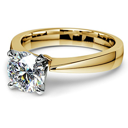 Decatur Diamond District 14K White or Yellow Solid Gold Solitaire Engagement Rings for Women (14K- Yellow Gold, ()