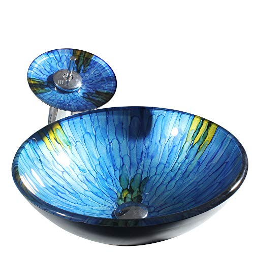 Bule Black Round Vessel Vanity Hand Painting Basin Sink Countertop Bowl Vessel Tempered Glass Basin Faucet Set