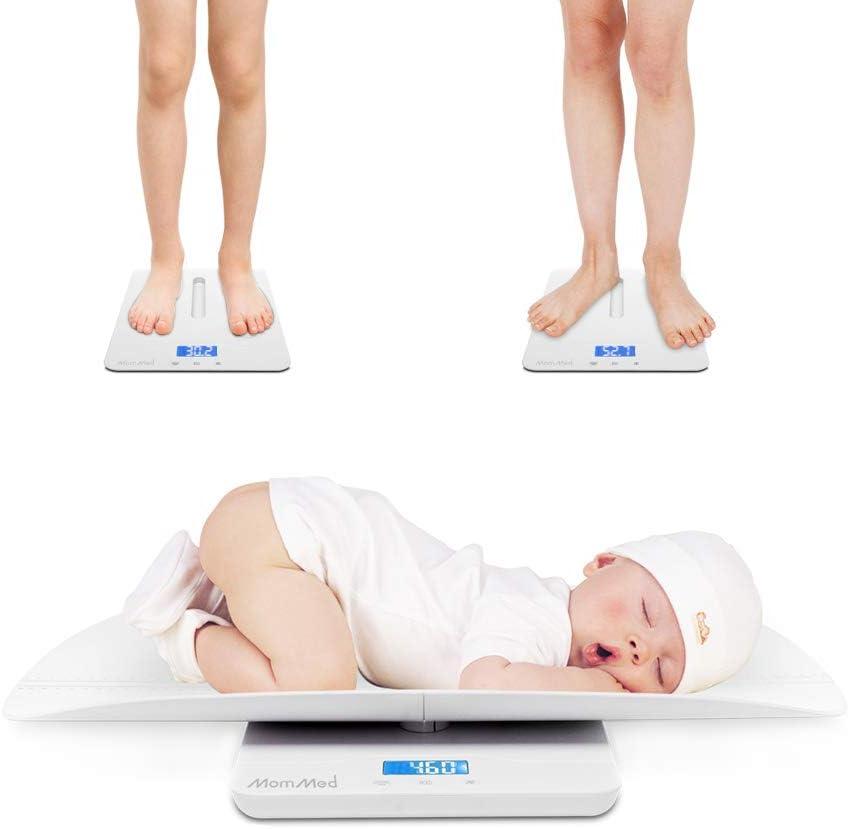 Balanza Bebe, Báscula para Niños Pequeños Multifunción, Peso Bebe Digital, Báscula para Mascotas, Báscula para Bebés con Función de Retención, Luz de Fondo Azul, Peso y Riel de Altura