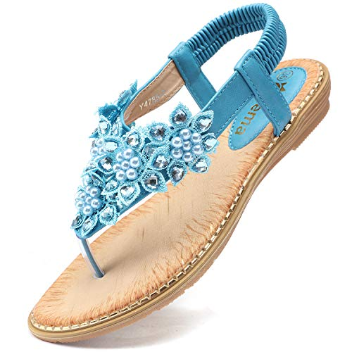 Blue Flower Flip Flops - Odema Women's Bohemian Flat Sandals Elastic Slip On Flower Rhinestone Flip Flop Shoes Blue