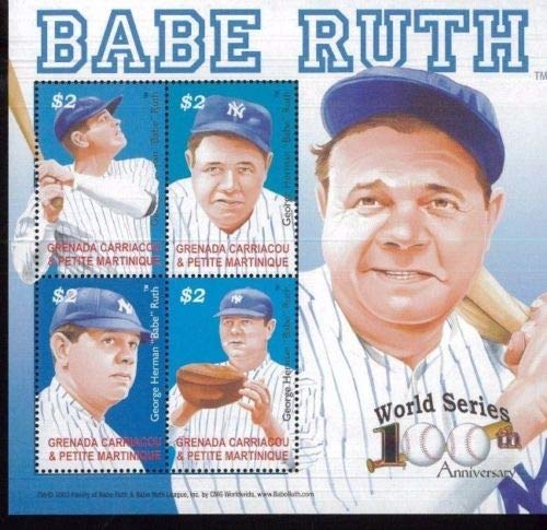 (Baseball Hall of Fame Legend - Babe Ruth - 100th Anniversary of The World Series - Rare Collectors Stamps - Grenada)
