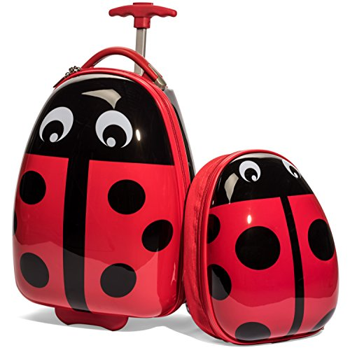 Kids Ladybug Luggage Set - Upright Carry On Roller Bag and Backpack -Perfect for Toddlers and Kids