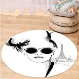 VROSELV Custom carpetFashion House Decor Sketch of Pretty Model with Sunglasses in Paris Eiffel Tower Romantic for Bedroom Living Room Dorm Black White Round 79 inches