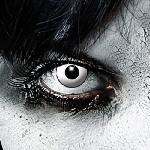 3-Monatslinsen WHITE MANSON, weiße Zombie Kontaktlinsen, Crazy Funlinsen, Halloween, Fastnacht, weiß