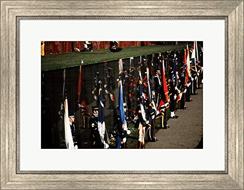 (Dedication of Vietnam Veterans Memorial 1982 Framed Art Print Wall Picture, Silver Scoop Frame, 22 x 17 inches)