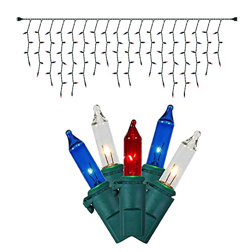 Vickerman 100 Count Icicle Mini Light Set with Green Wire, Red/White/Blue