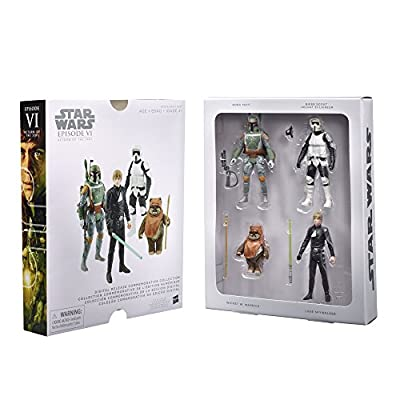 STAR WARS Digital Release Commemorative Collection - Episode 6 Return of the Jedi - Luke Skywalker, Boba Fett, Biker Scout Stormtrooper, Wicket Ewok (pack of four 3.75 inch action figures)(Discontinued by manufacturer)