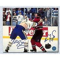 $55 » Rob Ray vs Ken Daneyko Dual Signed Sabres Devils Fight 8x10 Photo