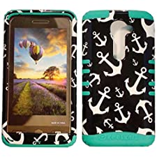 Cellphone Trendz High Impact Hybrid Rocker Case for LG G2 VS980 (Verizon only) – White Anchor Design On Black Hard Cover (Teal)