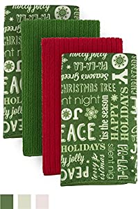 "DII Cleaning, Washing, Drying, Ultra Absorbent, Holiday Trees Microfiber Dishcloth 16x19"" (Set of 6)"