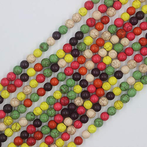 12mm Round Multicolor Dyed Turquoise Beads Loose Gemstone Beads for Jewelry Making Strand 15 Inch (31-33pcs)