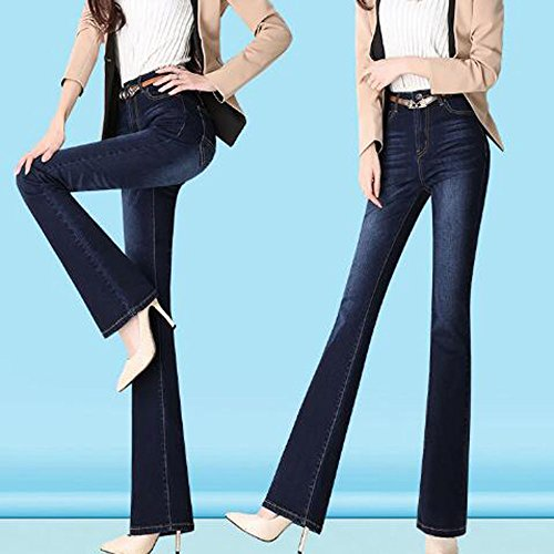 Flare pour Stretchy Blue4 43 Up Jeans Taille Ladies Trousers ADEMI Haute Jeans Zip Femmes Pants qwFx6avR