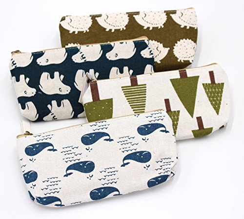 FIVOENDAR Adorable Forest and Animal Linen Pencil Case Pen Zipper Bag Coin Organizer Makeup Costmetic Bag Pouch - Set of 4