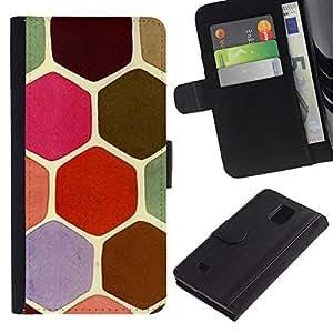 Paccase / Billetera de Cuero Caso del tirón Titular de la tarjeta Carcasa Funda para - Hexagon Scale Pattern Pink Moss - Samsung Galaxy Note 4 SM-N910