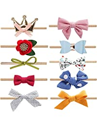 Baby Girl Headbands and Bows Flower,Newborn Soft Hairbands,10 Pack Hair Accessories for Infant Toddler Gift (Style 2)