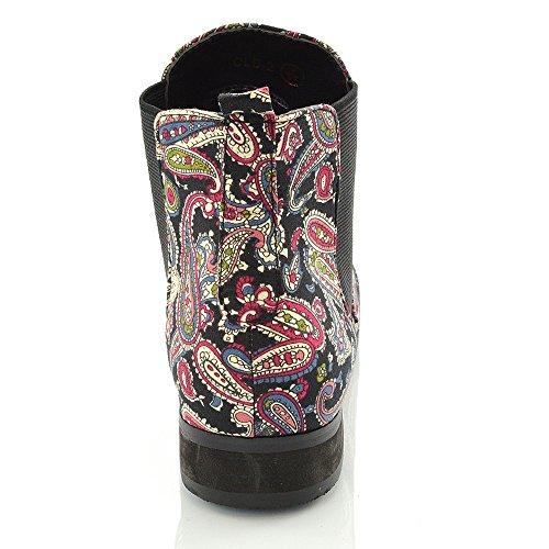 Stivaletti Chelsea Donna Essex Glam Tacco Basso Elasticizzato Con Punta Arrotondata Slip On Ankle Boots Paisley